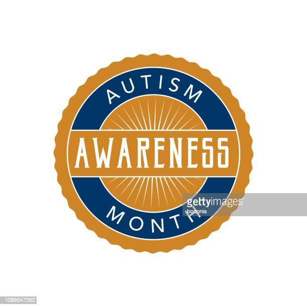 ilustraciones, imágenes clip art, dibujos animados e iconos de stock de etiqueta de mes concienciación autismo - autismo