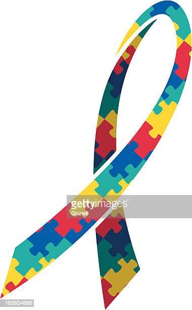 ilustraciones, imágenes clip art, dibujos animados e iconos de stock de cinta de concienciación sobre el autismo - autismo
