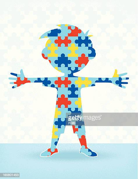 ilustraciones, imágenes clip art, dibujos animados e iconos de stock de autismo puzzle niño - autismo