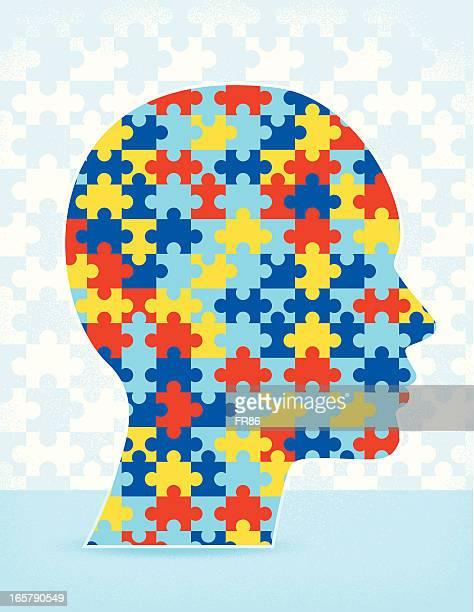 ilustraciones, imágenes clip art, dibujos animados e iconos de stock de autismo puzzle de - autismo