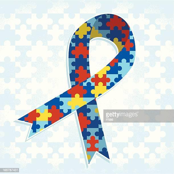 ilustraciones, imágenes clip art, dibujos animados e iconos de stock de autismo cinta - autismo