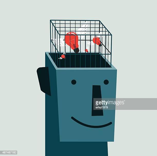 ilustraciones, imágenes clip art, dibujos animados e iconos de stock de autismo, atrapada, jaulas, la cárcel; medio - autismo