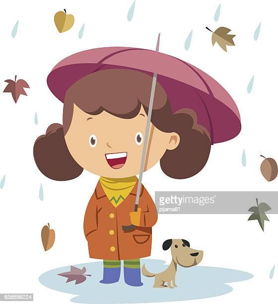 30 Meilleurs Fille Parapluie Illustrations Cliparts