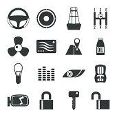 Auto accessories icons set