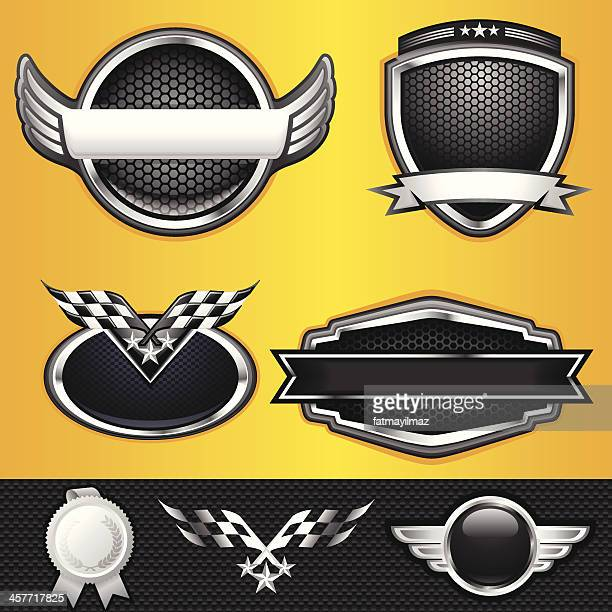 ilustrações, clipart, desenhos animados e ícones de vencedor emblems automático e corrida - esporte motorizado