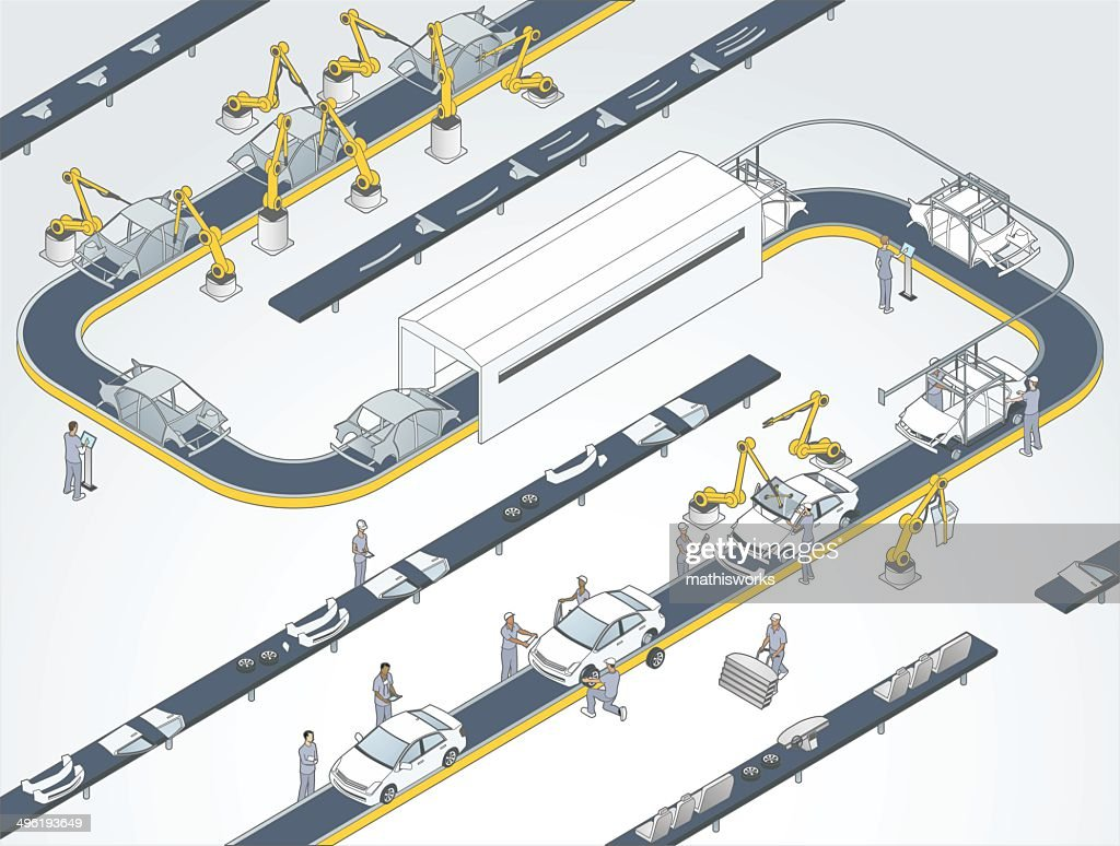gallo images gallo images 496193649 detailed modern factory Old Automotive Assembly Line auto assembly line illustration detailed modern factory illustrates an automotive