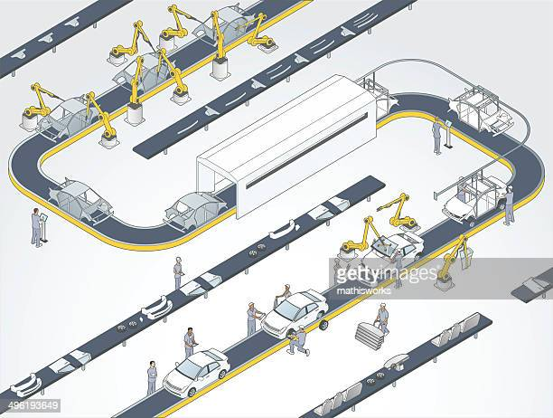 auto assembly line illustration - car stock illustrations, clip art, cartoons, & icons