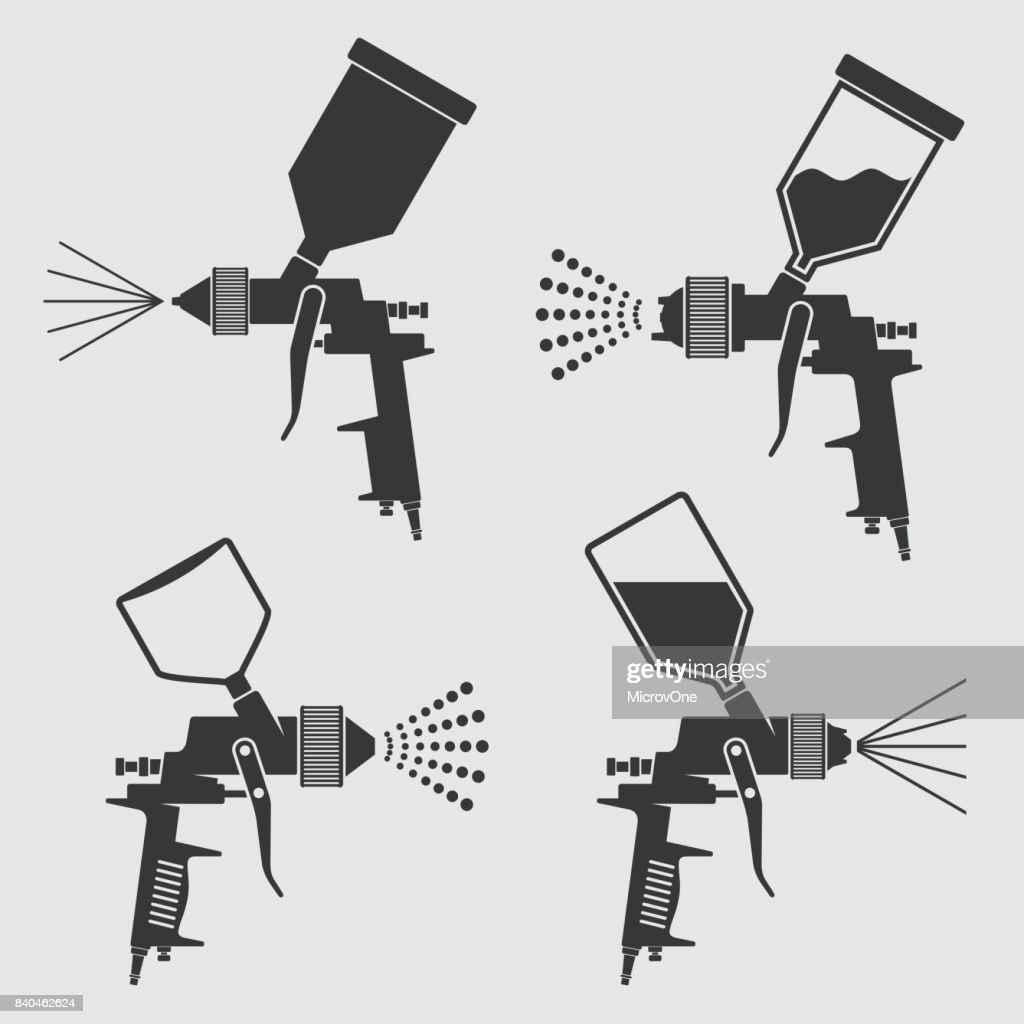 Auto body industrial painting spray gun vector icons