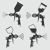 Auto body industrial painting spray gun vector icons