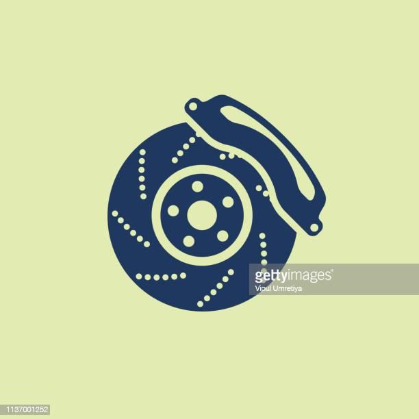 auto-bremsker-scheibensymbol - schieblehre stock-grafiken, -clipart, -cartoons und -symbole