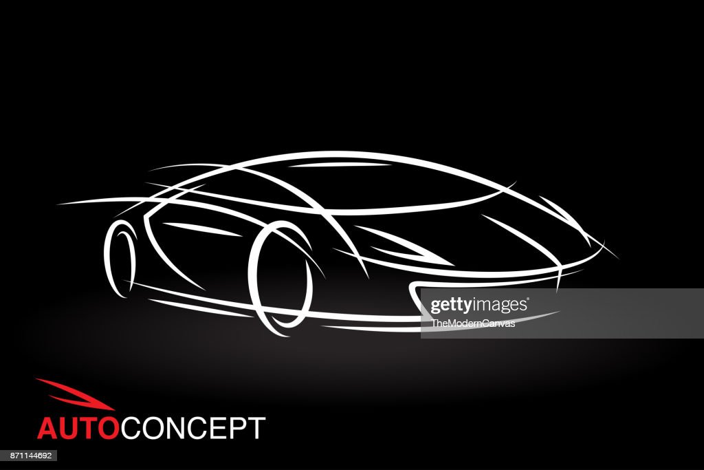 Auto concept vehicle design with model style sketch sports car