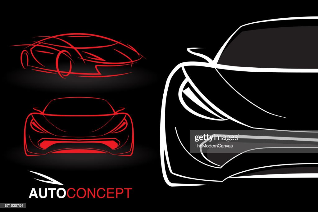 Auto concept vehicle designs with model style sketch sports cars