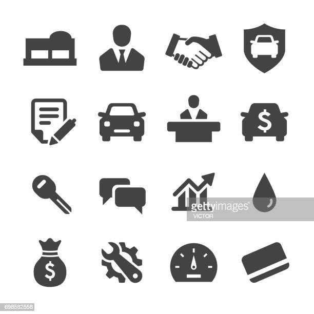 auto dealership icons - acme series - car salesperson stock illustrations, clip art, cartoons, & icons