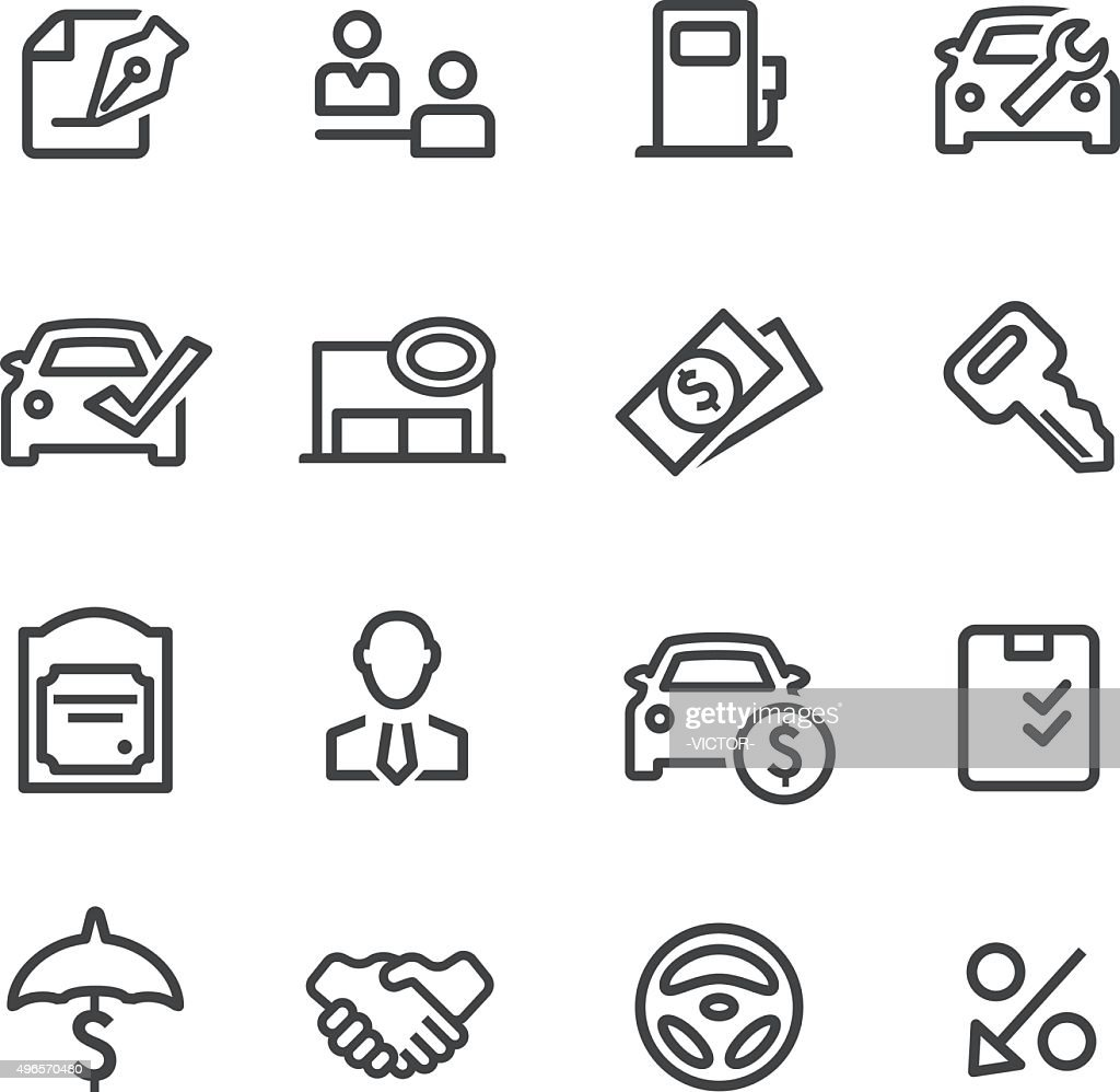 Auto Dealership Icons - Line Series