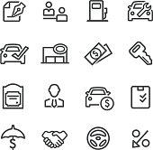 Auto Dealership Icons - Line Series