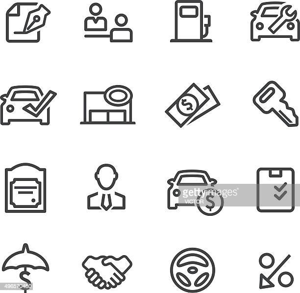 auto dealership icons - line series - legal document stock illustrations, clip art, cartoons, & icons
