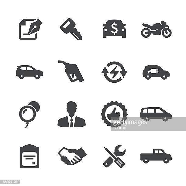 auto dealership icons set - acme series - car salesperson stock illustrations, clip art, cartoons, & icons
