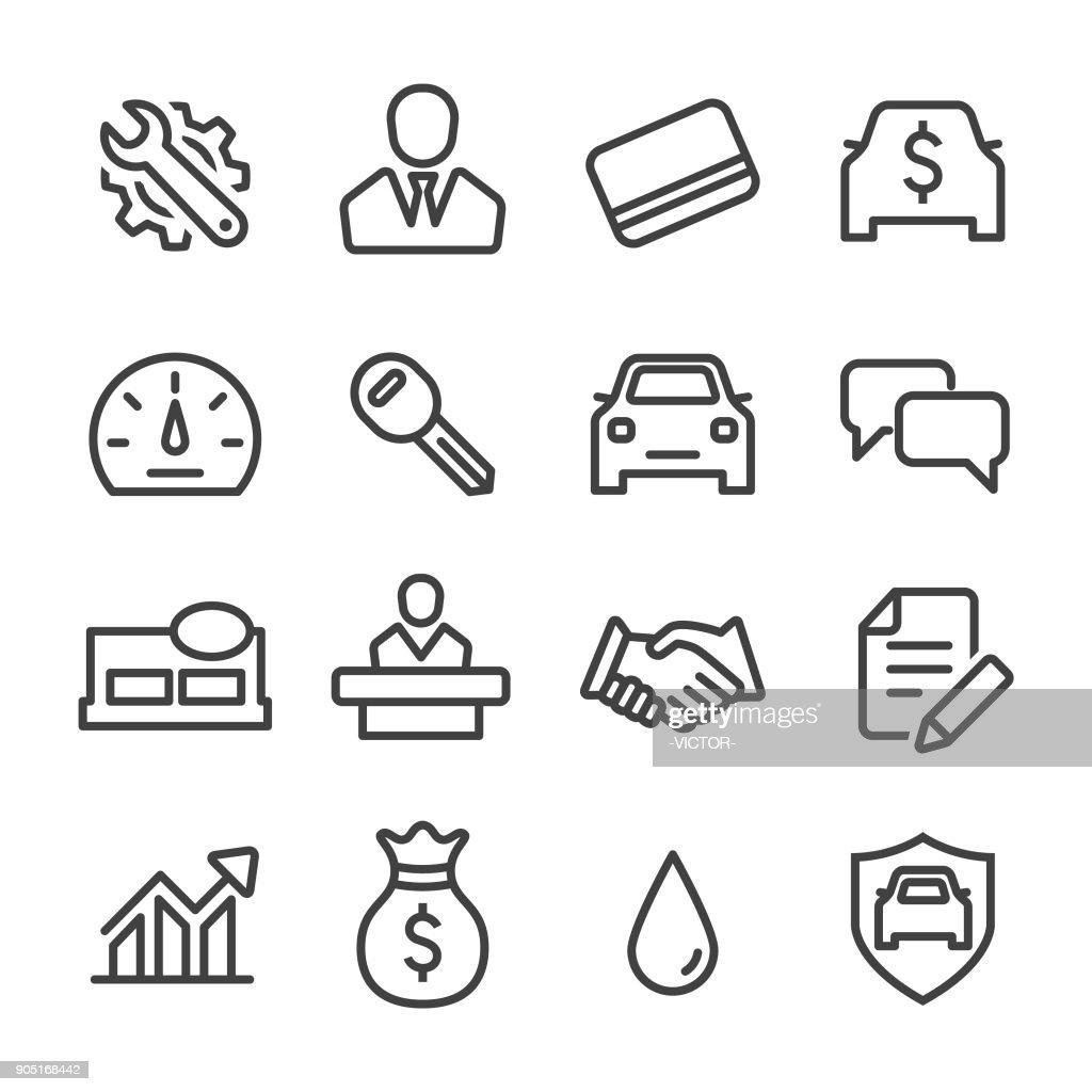 Auto Dealership Icons Set - Line Series : stock illustration