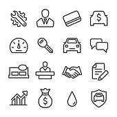 Auto Dealership Icons Set - Line Series