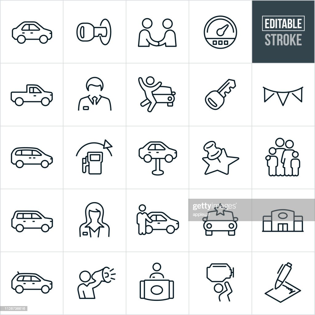 Auto Dealership Thin Line Icons - Editable Stroke : Stock Illustration