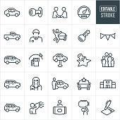 Auto Dealership Thin Line Icons - Editable Stroke
