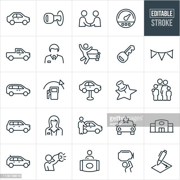auto dealership thin line icons - editable stroke - car stock illustrations, clip art, cartoons, & icons
