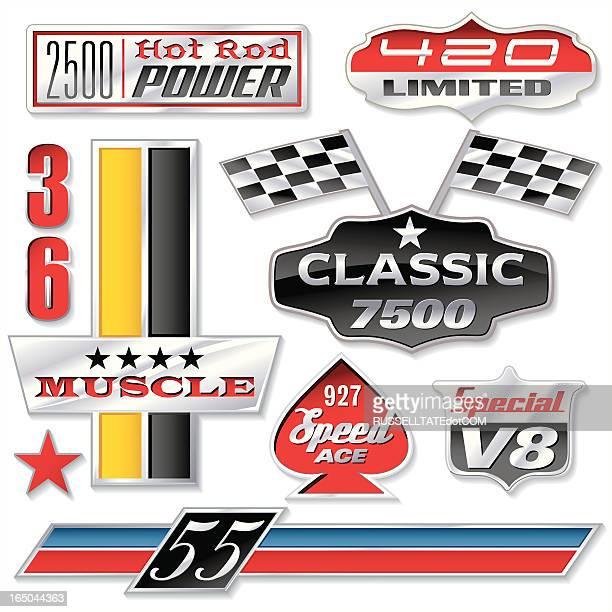 ilustrações, clipart, desenhos animados e ícones de automático com números do insignia - esporte motorizado