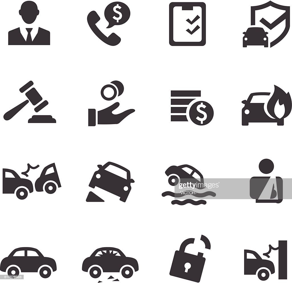 Auto Insurance Icons Acme Series High-Res Vector Graphic ...