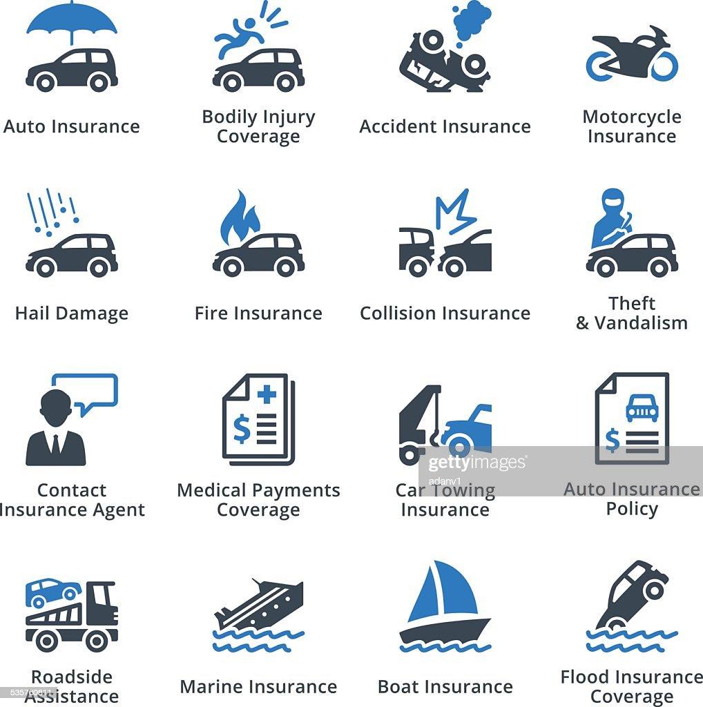 Auto Insurance Icons- Blue Series