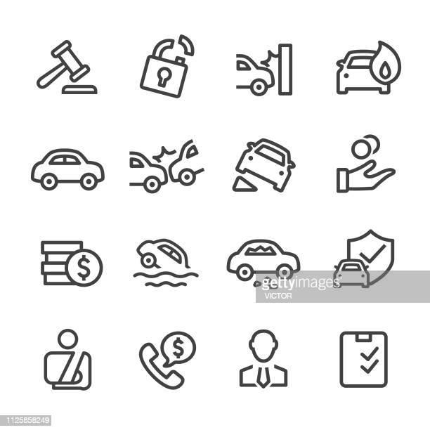 ilustrações de stock, clip art, desenhos animados e ícones de auto insurance icons - line series - acidente de carro