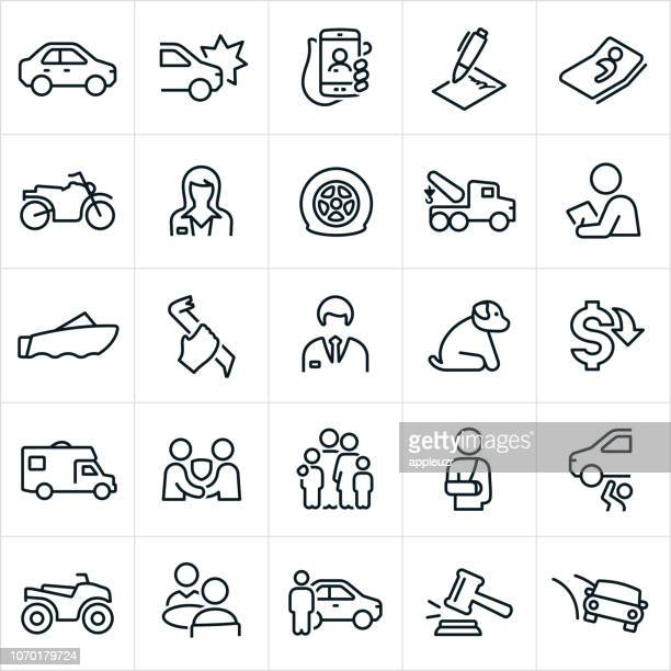 auto insurance icons - motorcycle accident stock illustrations