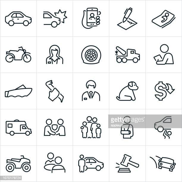 illustrations, cliparts, dessins animés et icônes de icônes d'assurance auto - camping car