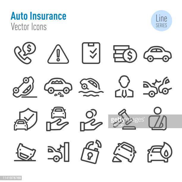 stockillustraties, clipart, cartoons en iconen met auto verzekering iconen-vector lijn serie - verantwoordelijkheid