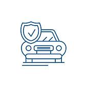 Auto insurance line icon concept. Auto insurance flat  vector symbol, sign, outline illustration.