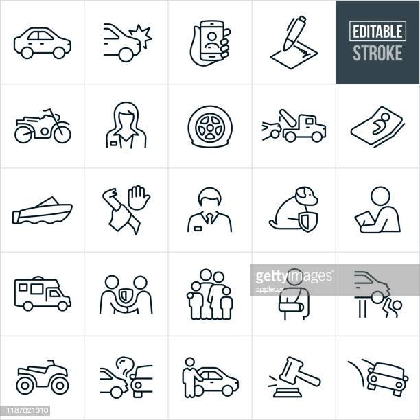 auto insurance thin line icons - ediatable stroke - motorcycle accident stock illustrations