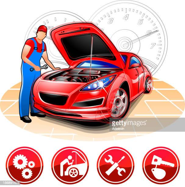 auto mechanic at repair shop - vehicle hood stock illustrations, clip art, cartoons, & icons