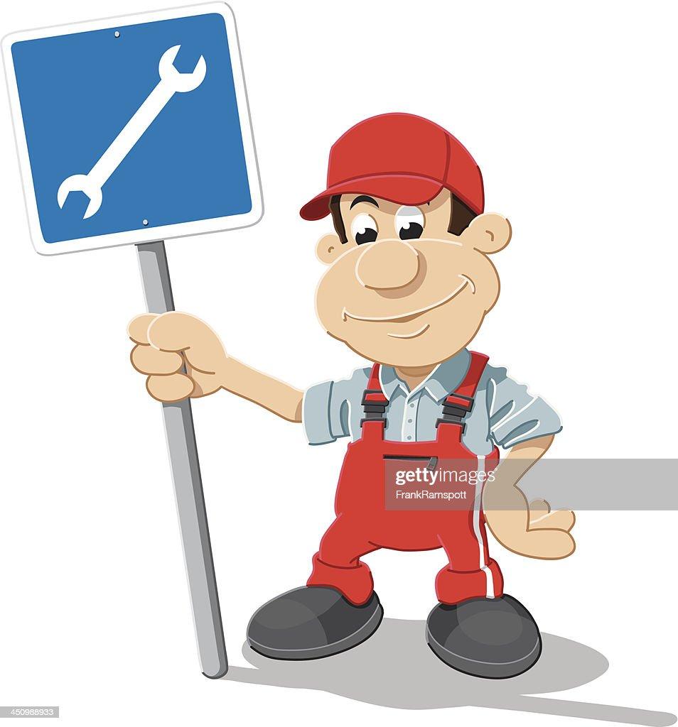 Auto Mechanic Cartoon Man Repair Shop Sign Isolated High