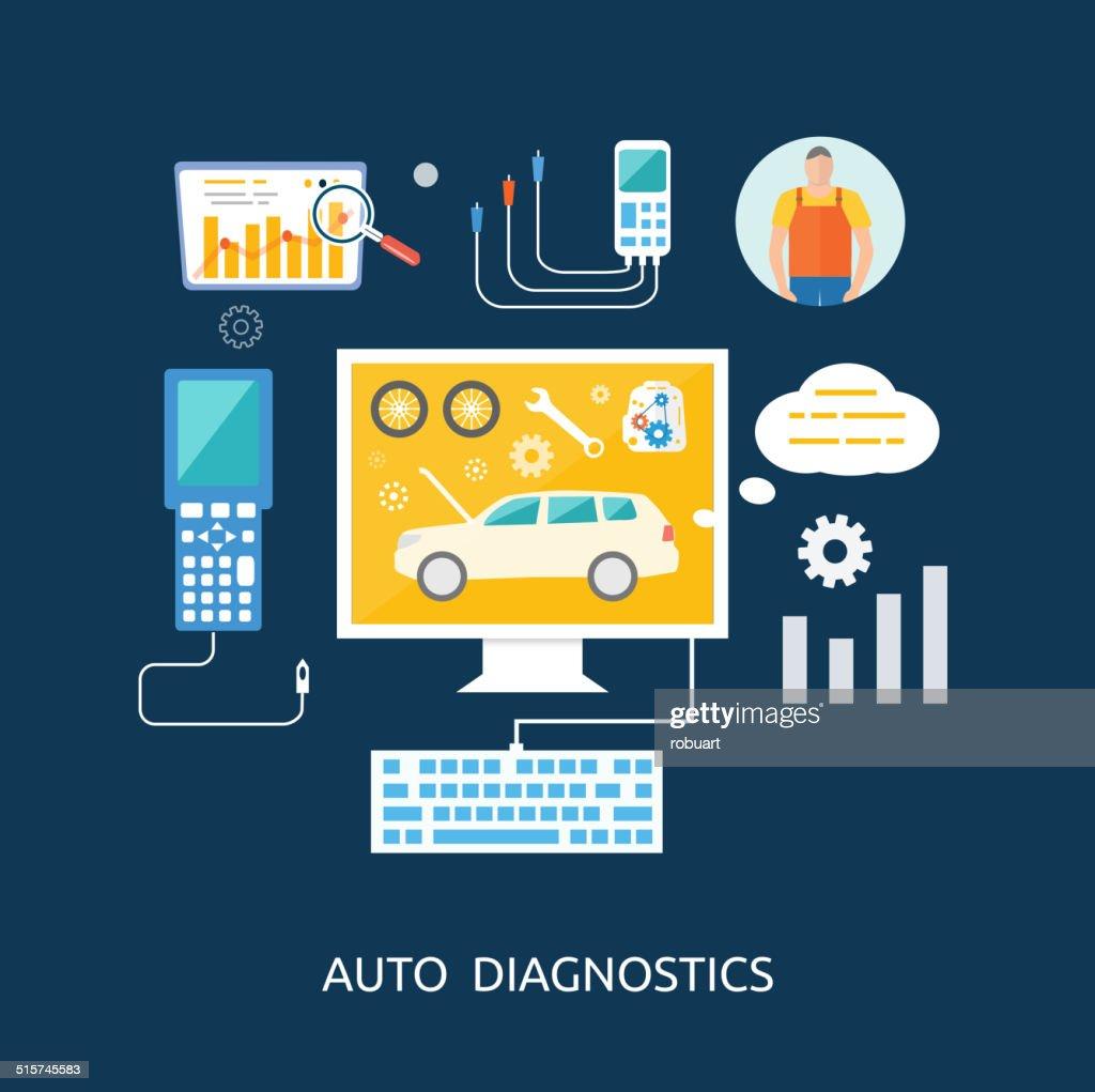 Auto mechanic service flat icons of maintenance car repair
