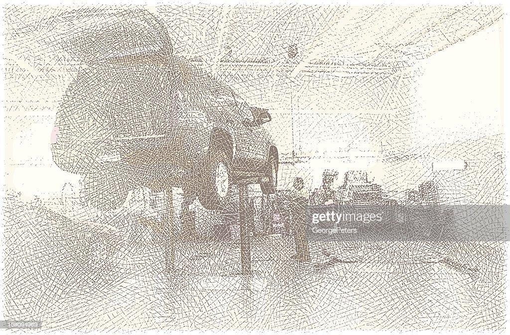 Auto Mechanic Working On Car