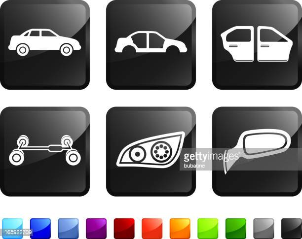 Auto Parts and Car Manufacturing Company vector icon set stickers