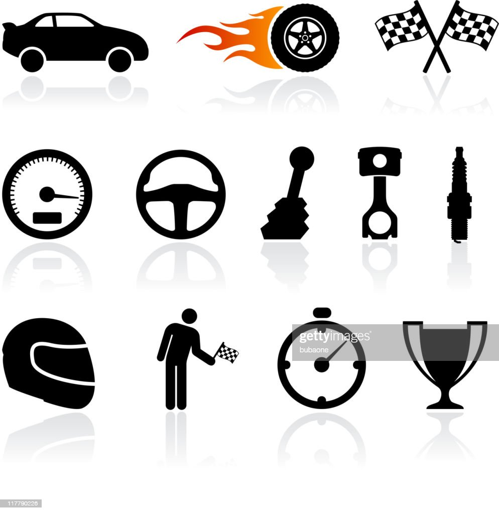 auto racing black and white royalty free vector icon set : stock illustration