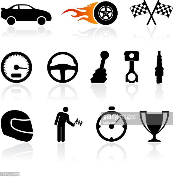 auto racing black and white royalty free vector icon set