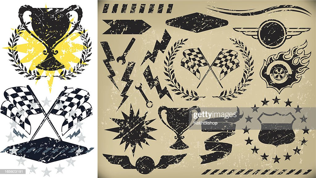 Auto Racing, Checkered Flag Grunge Icons : stock illustration