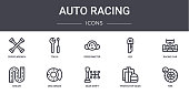 auto racing concept line icons set