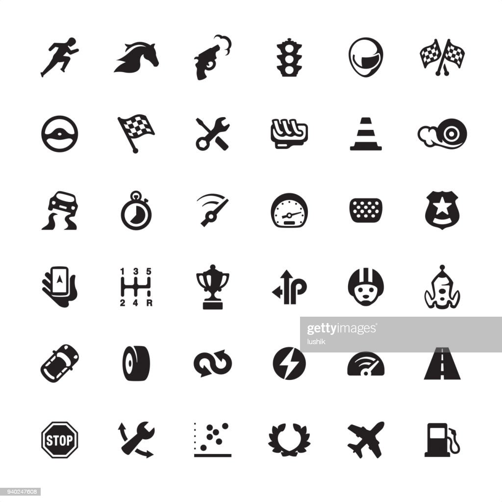 Auto Racing design icon set : stock illustration