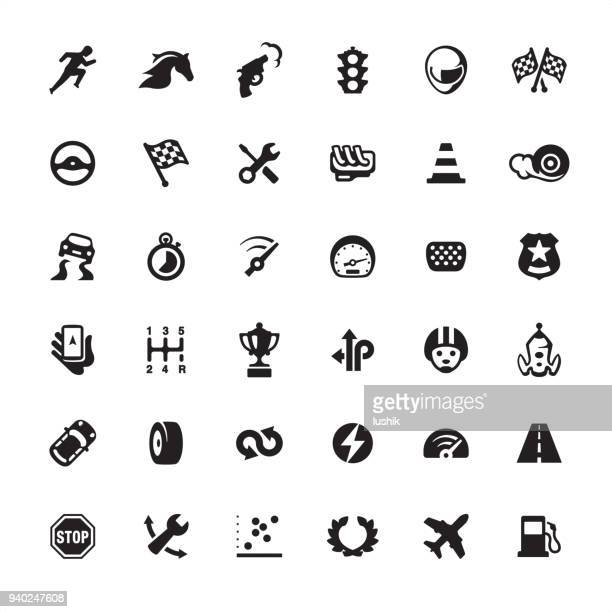 auto racing design icon set - rally car racing stock illustrations, clip art, cartoons, & icons