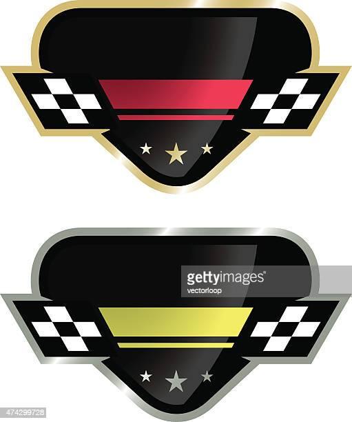 ilustraciones, imágenes clip art, dibujos animados e iconos de stock de auto racing logotipo - circuito de carreras de coches