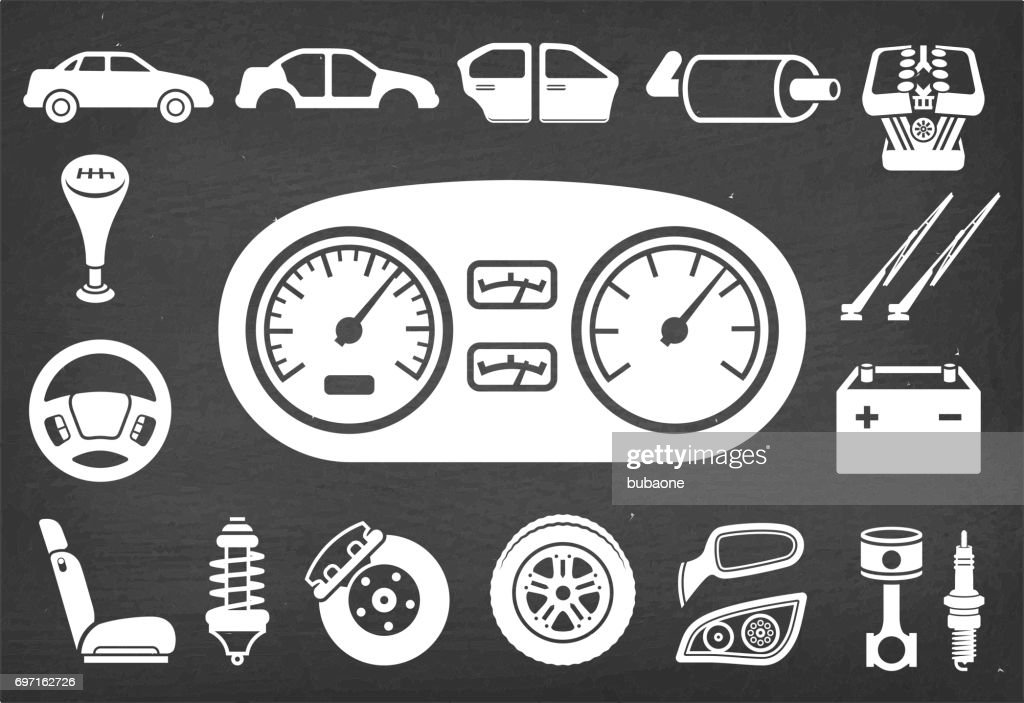 Assembly Icon: Auto Repair And Car Assembly Parts Vector Icon Set Stock