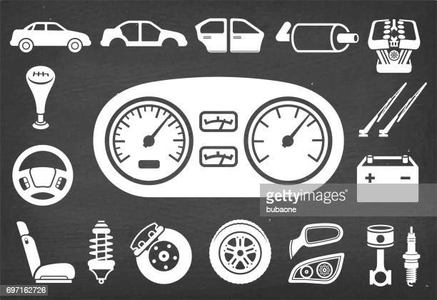 auto repair and car assembly & parts vector icon set - car battery stock illustrations, clip art, cartoons, & icons