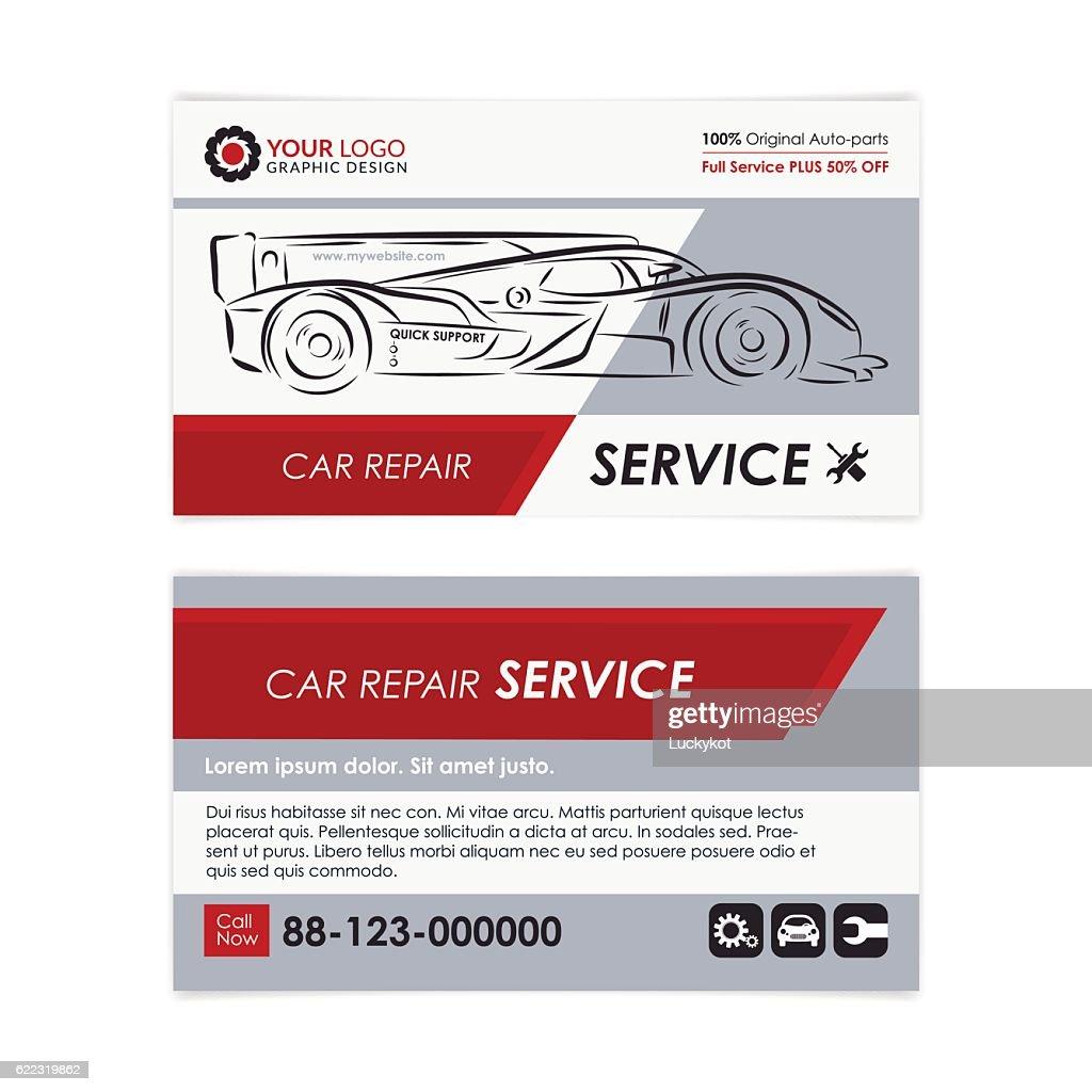 auto repair business card template vector art - Auto Repair Business Cards